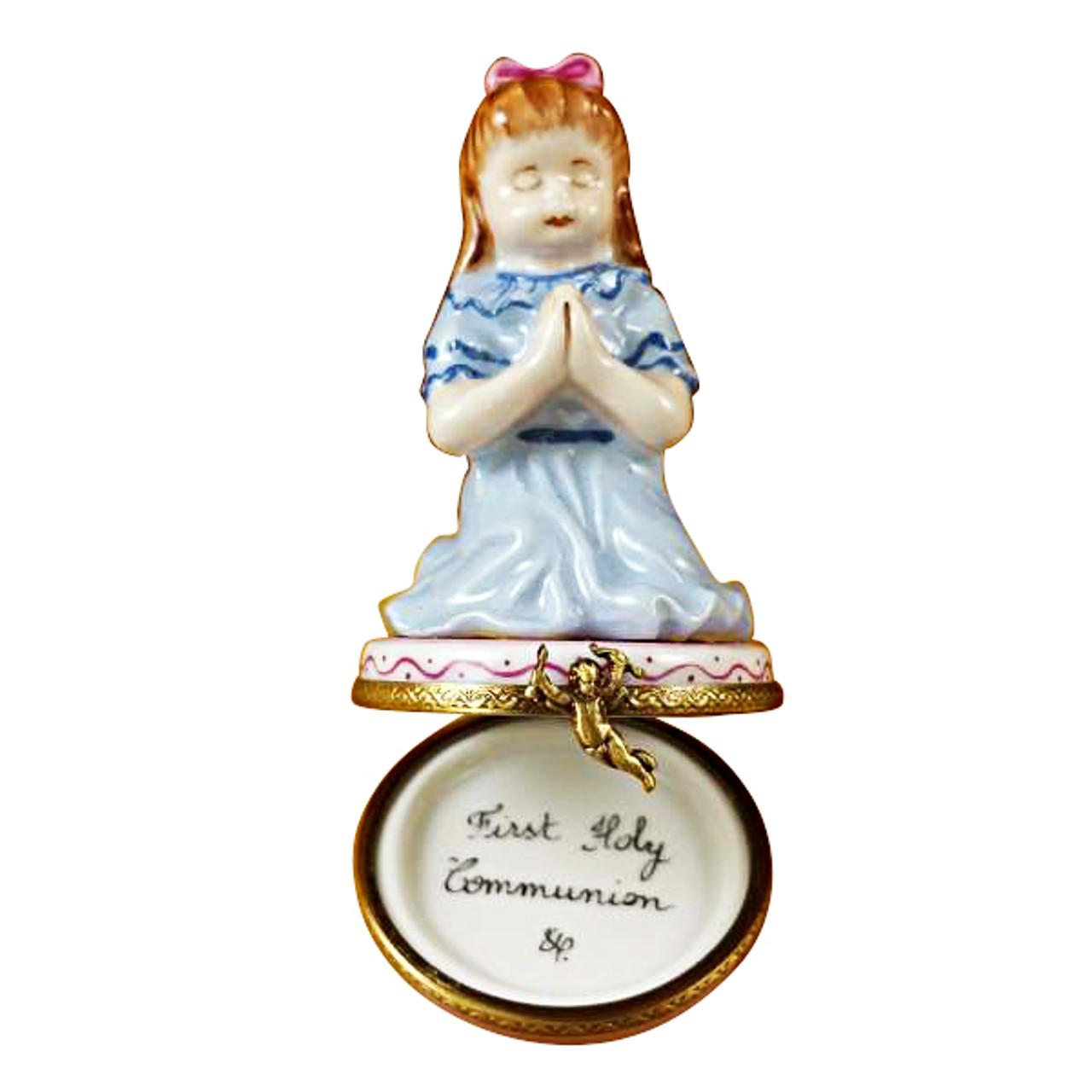Limoges Imports Brunette Girl Praying Limoges Box