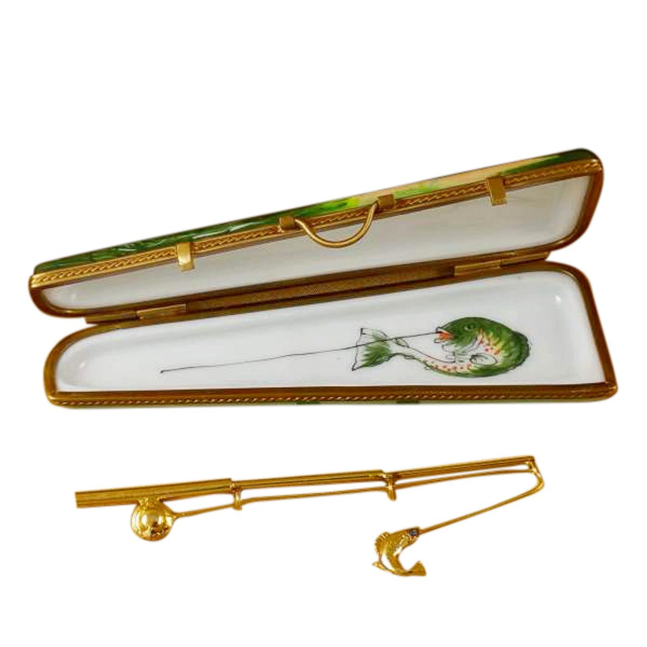 Limoges Imports Fishing Case W/Rod Limoges Box
