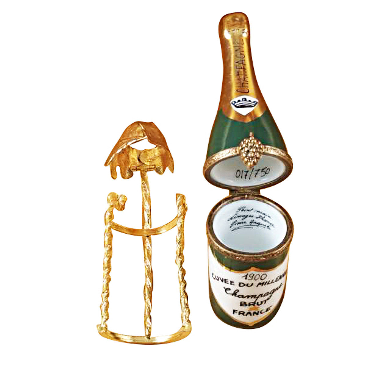 Limoges Imports Champagne In Brass Grape Leaves Holder Limoges Box
