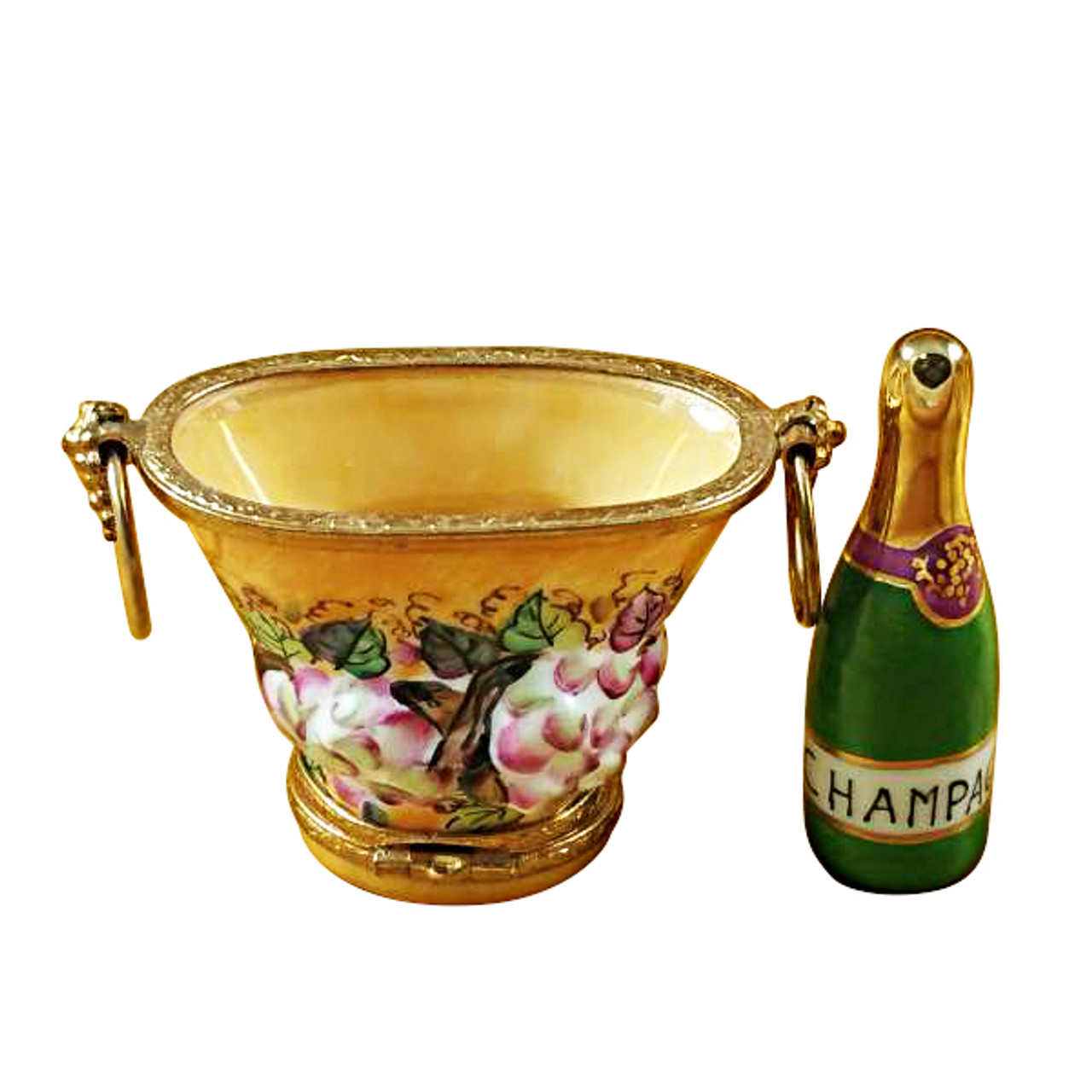 Limoges Imports Champagne Bucket W/Grapes Limoges Box