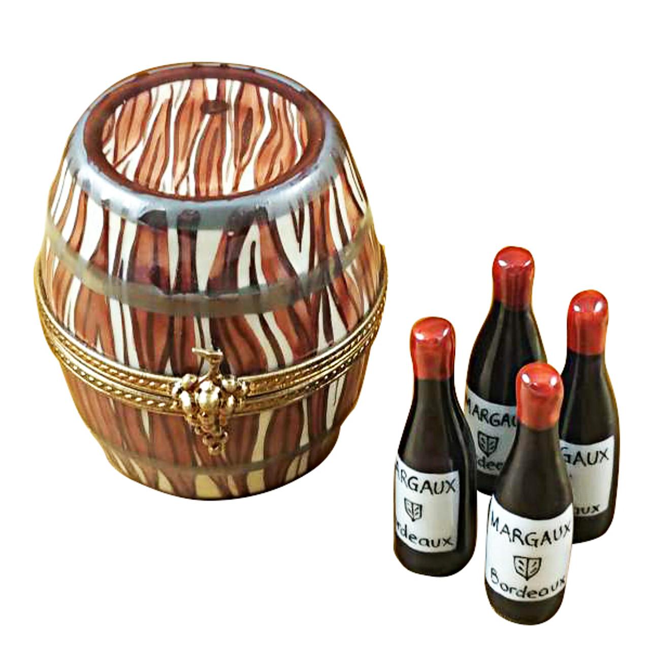 Limoges Imports Wine Barrel W/4 Bottles Limoges Box