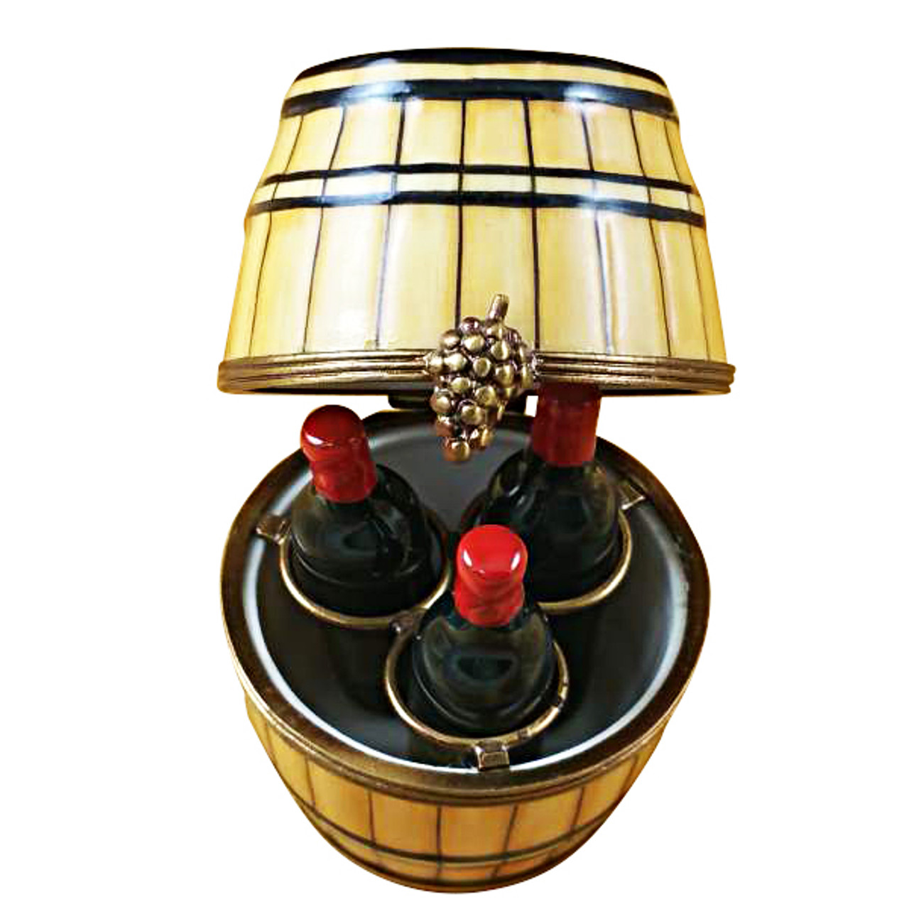 Limoges Imports Wine Barrel W/3 Bottles Limoges Box