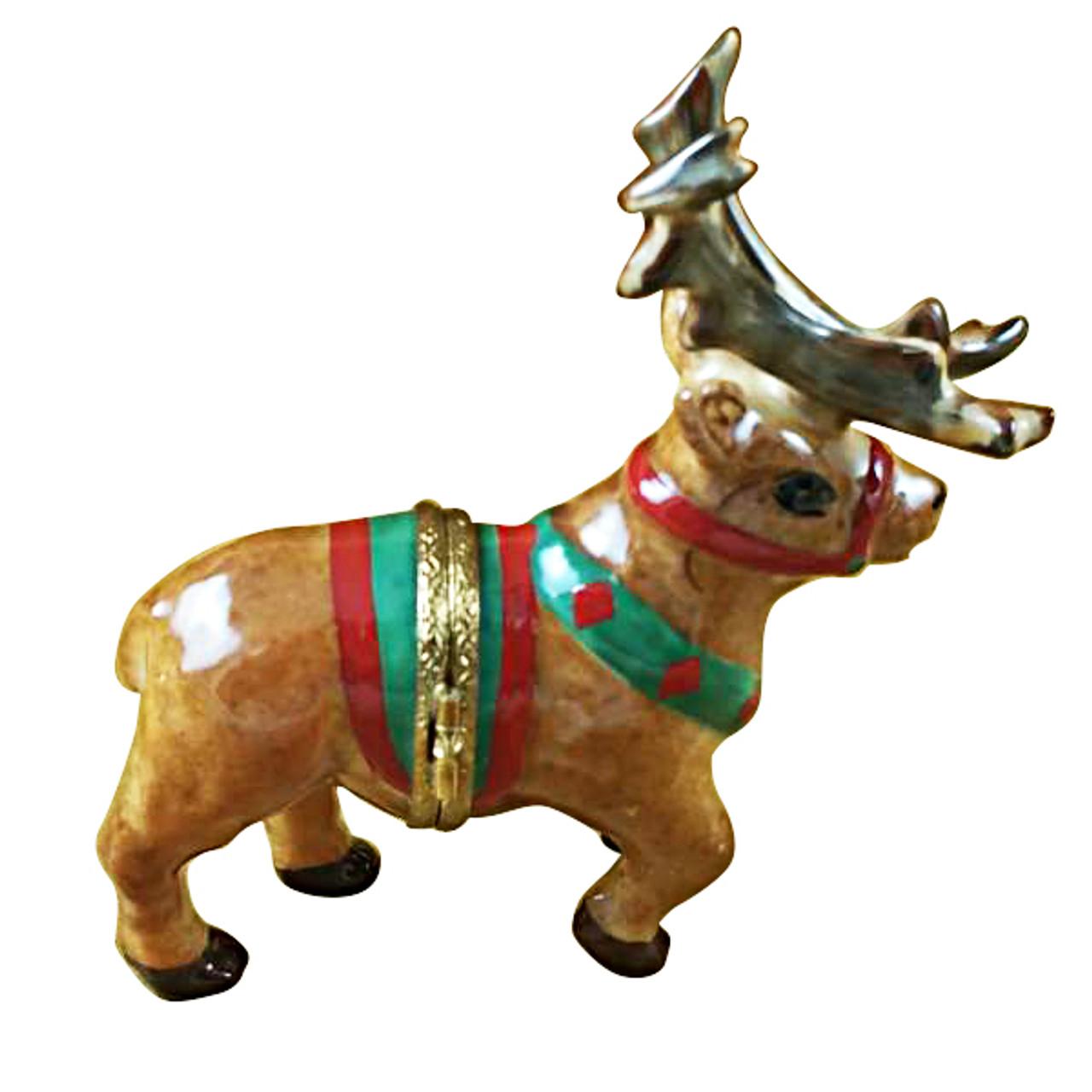 Limoges Imports Reindeer W/Antlers Limoges Box