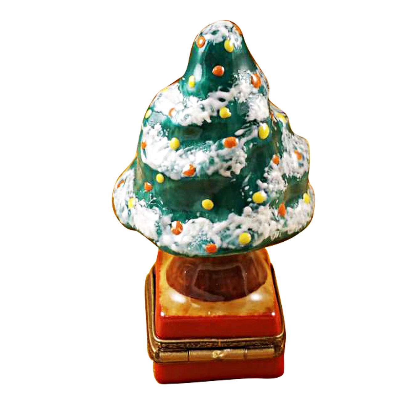 Limoges Imports Christmas Tree W/Red Base Limoges Box