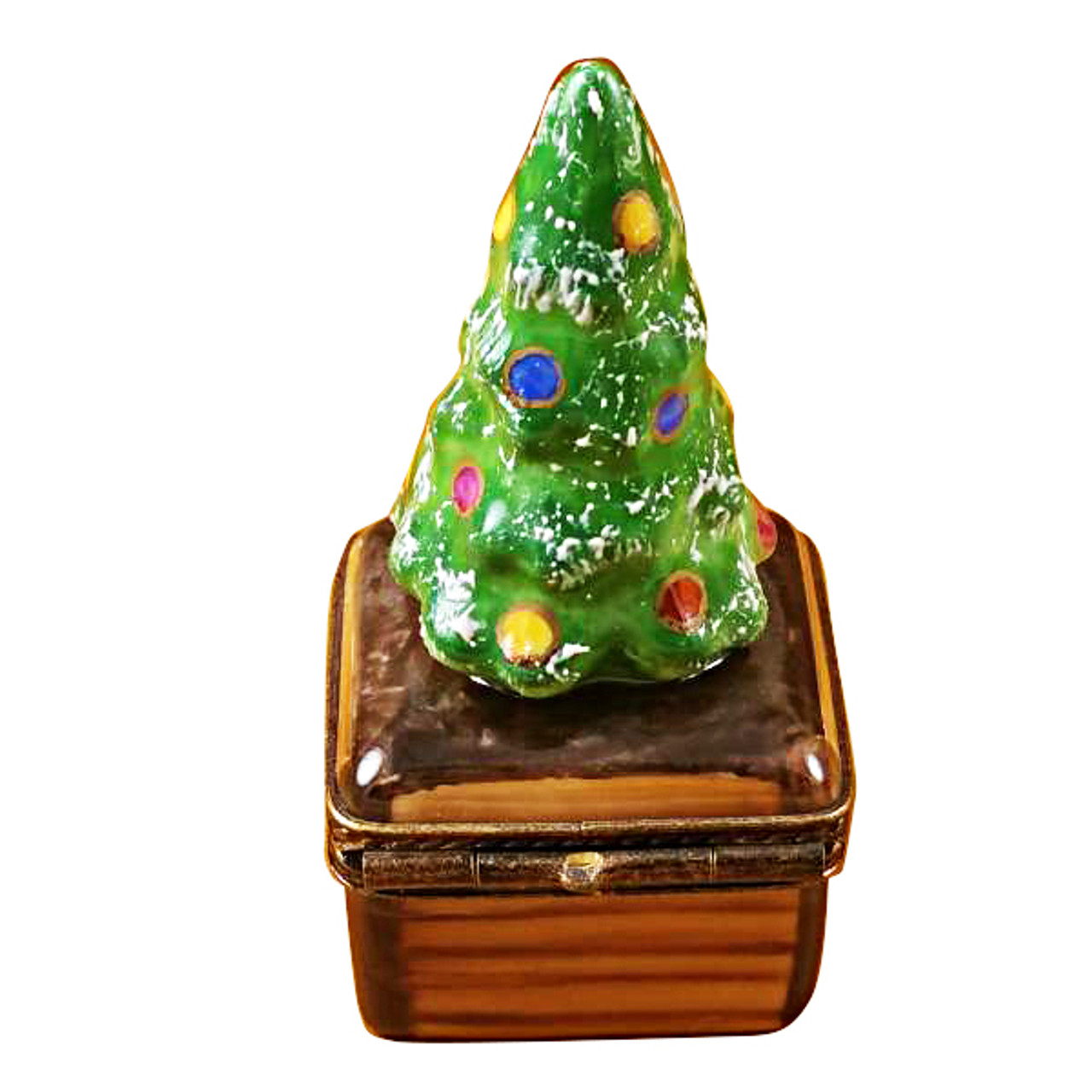 Small Christmas Tree On Brown Base Limoges Box Limoges Imports Christine S Closet