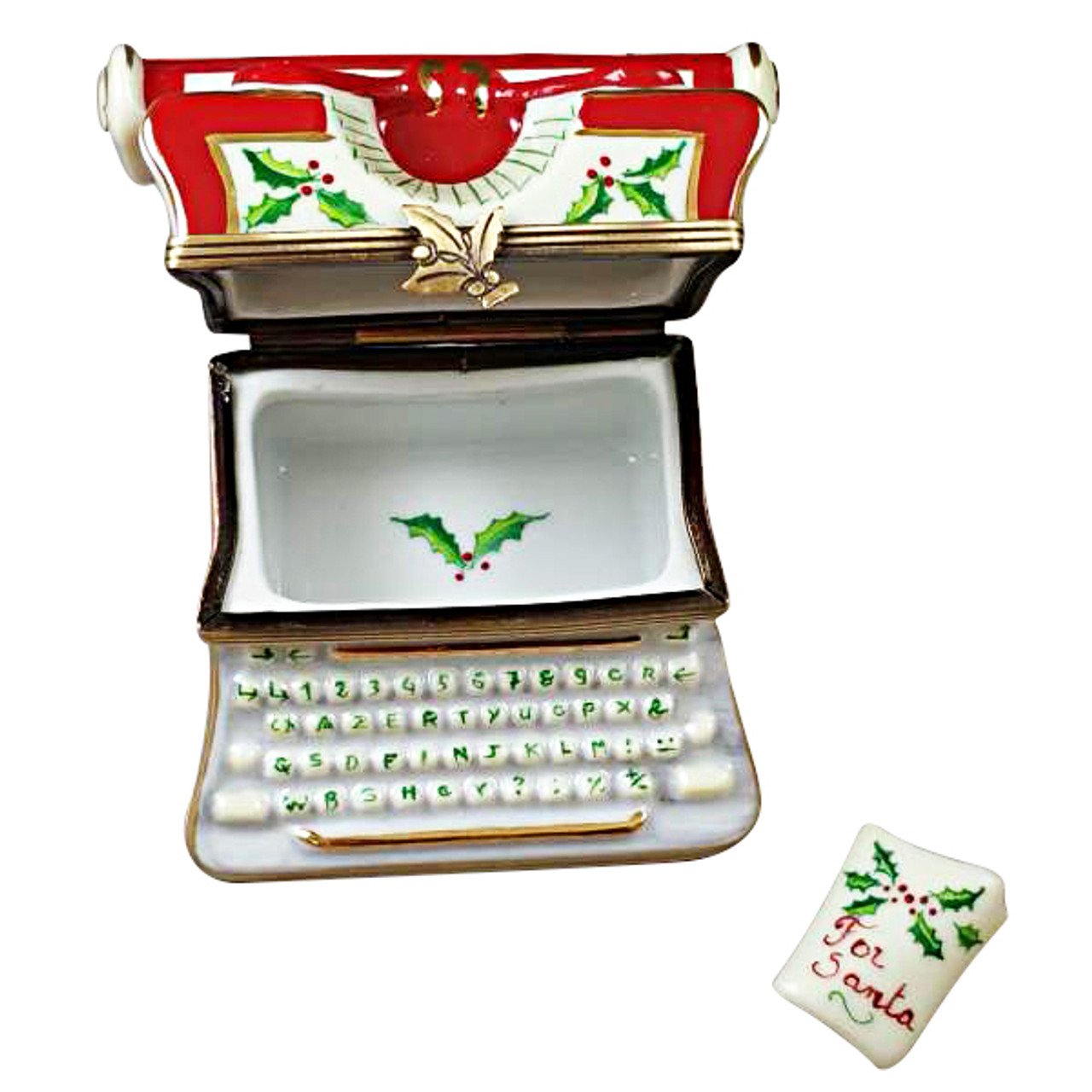 Limoges Imports Christmas Typewriter With Letter Limoges Box