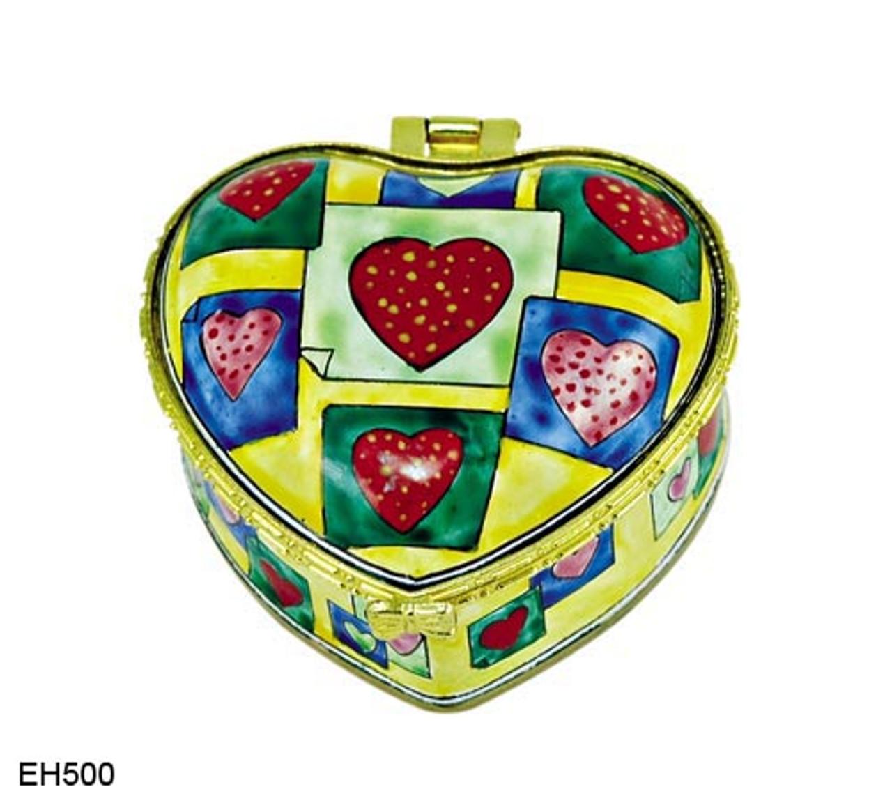 EH500 Kelvin Chen Hearts Pattern Enamel Hinged Box