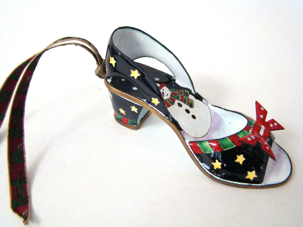Kelvin Chen Snowman Design Enamel Shoe