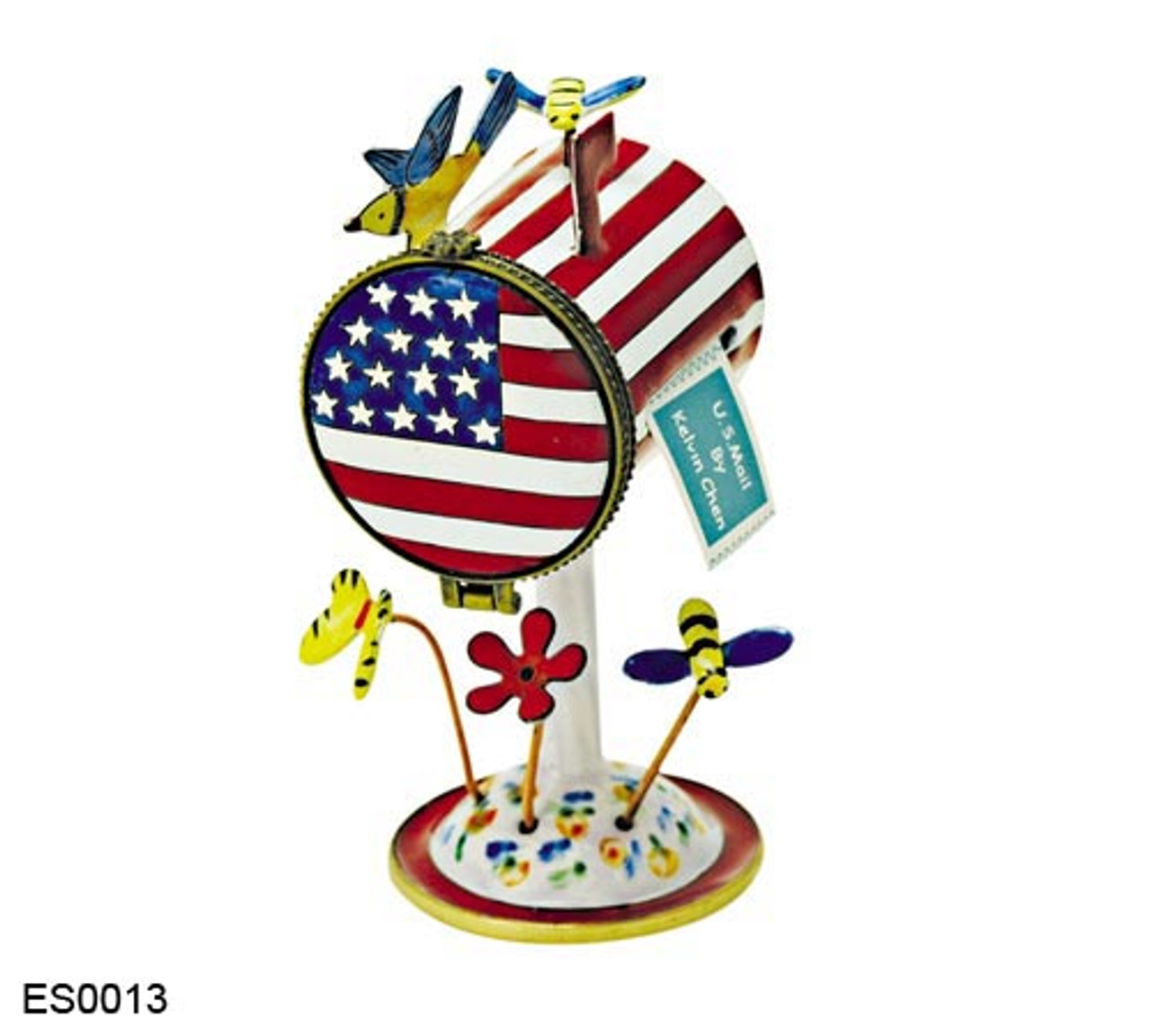 ES0013 Kelvin Chen American Flag Mailbox Hinged Stamp Box