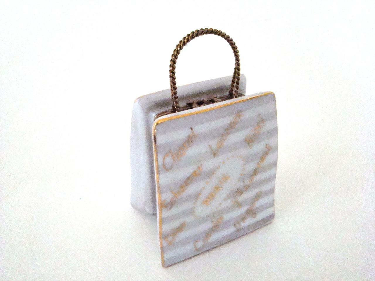S&D Designer Paris Shopping Bag Limoges Box with Necklace
