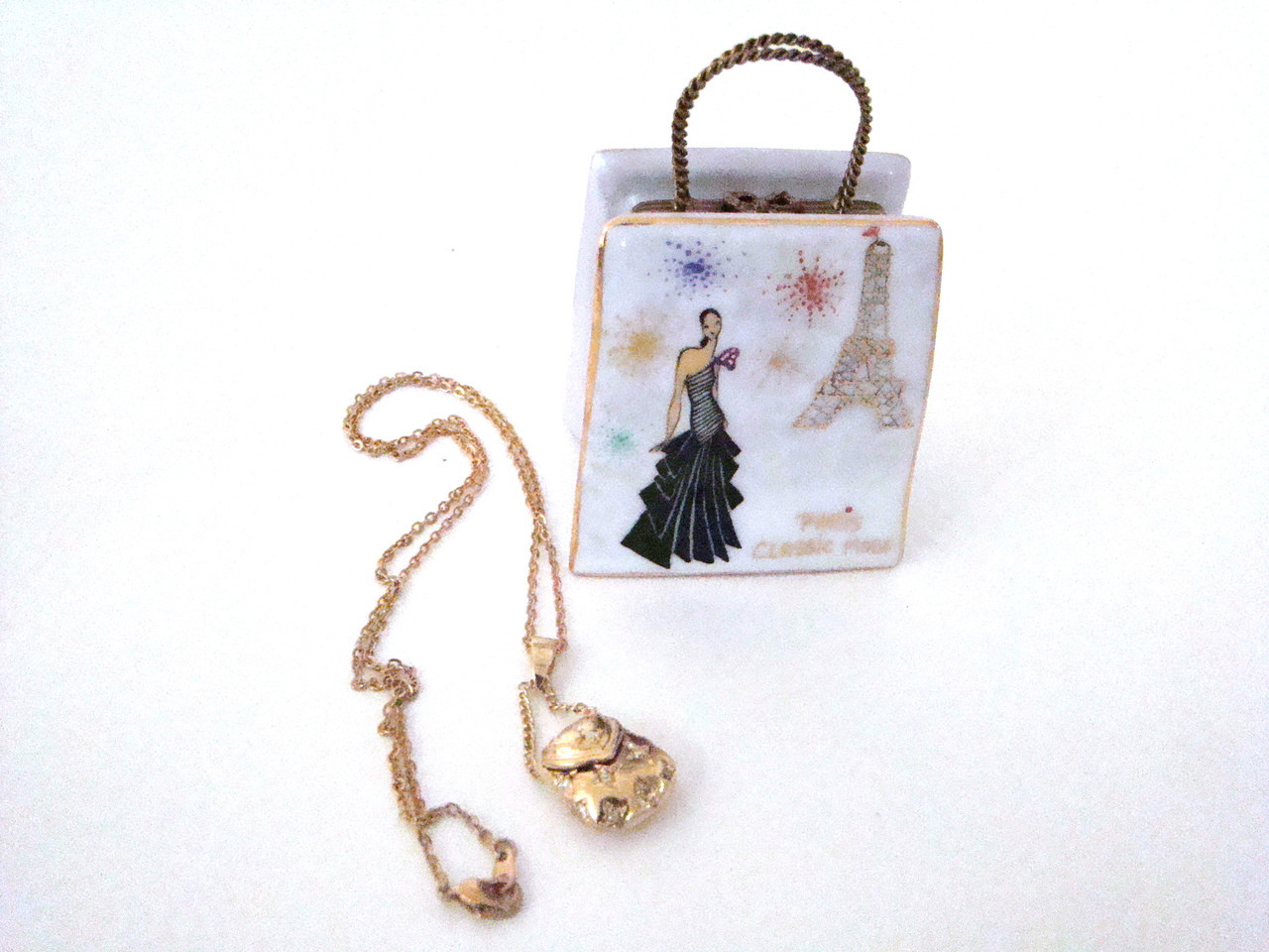 Designer Paris Classic Mode Shopping Bag Limoges Box with Necklace