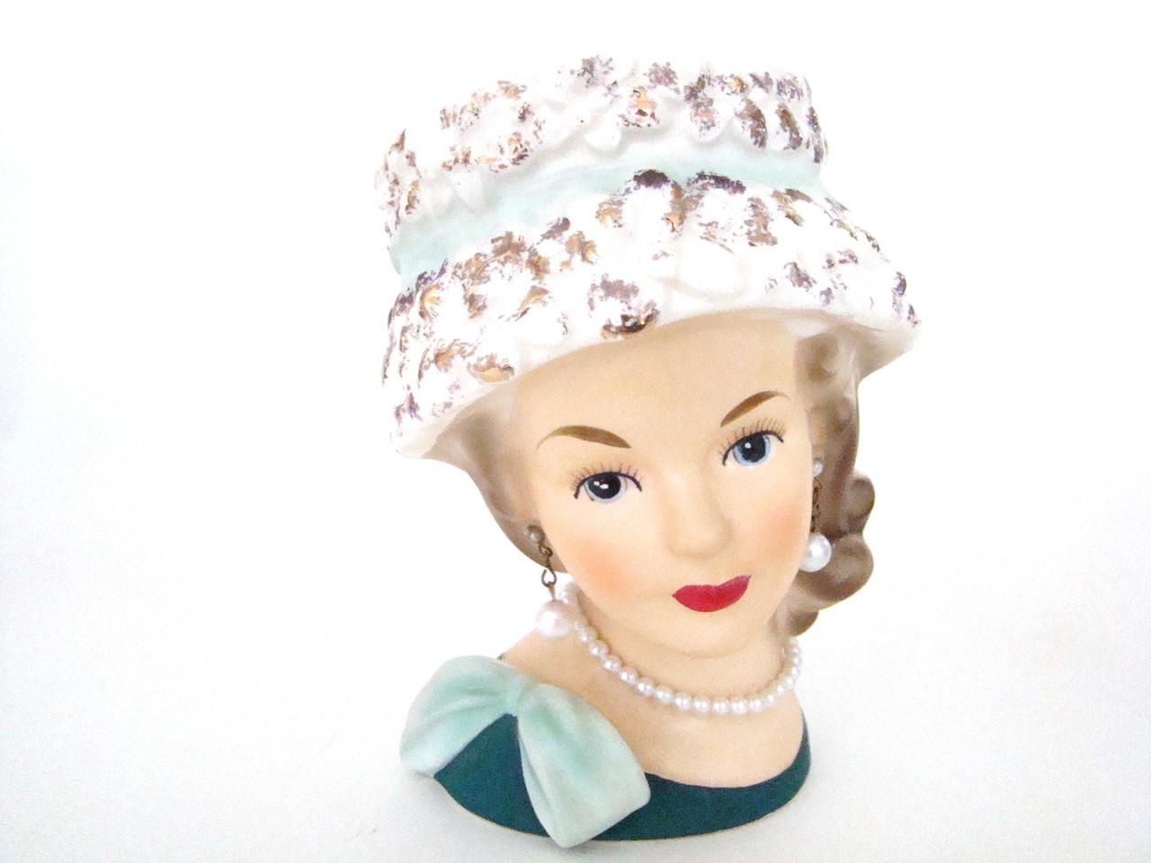 Vintage Lady Head Vase Relpo K1517 in Sculpted Hat