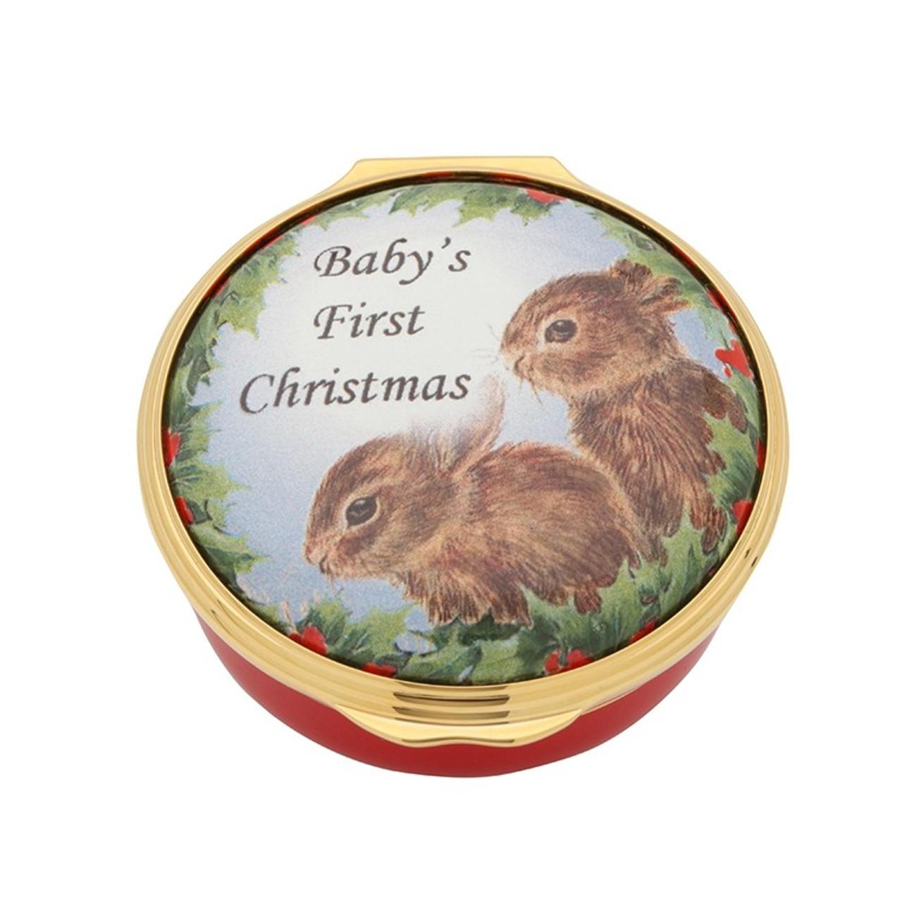 Halcyon Days Baby's First Christmas Enamel Box ENBFC0601G