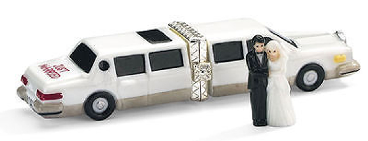 Just Married Wedding Limousine wth Couple