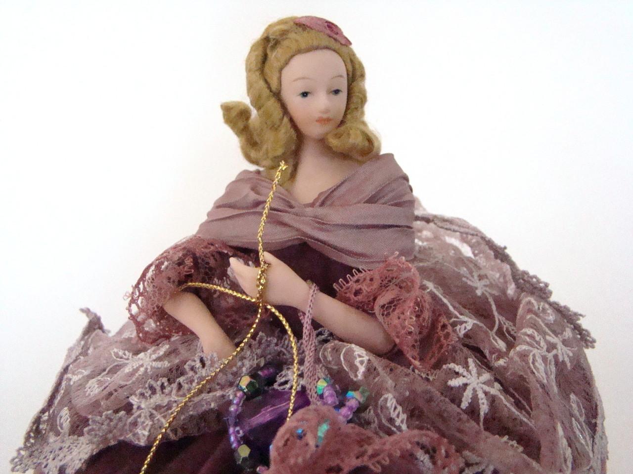 Plum Romance Half Doll Pin Cushion Doll (0041DI)