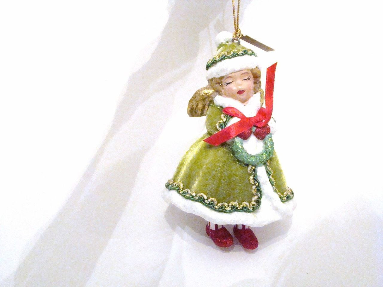 Katherine's Collection Retro Christmas Angel Girl in Green Ornament (28-628180)