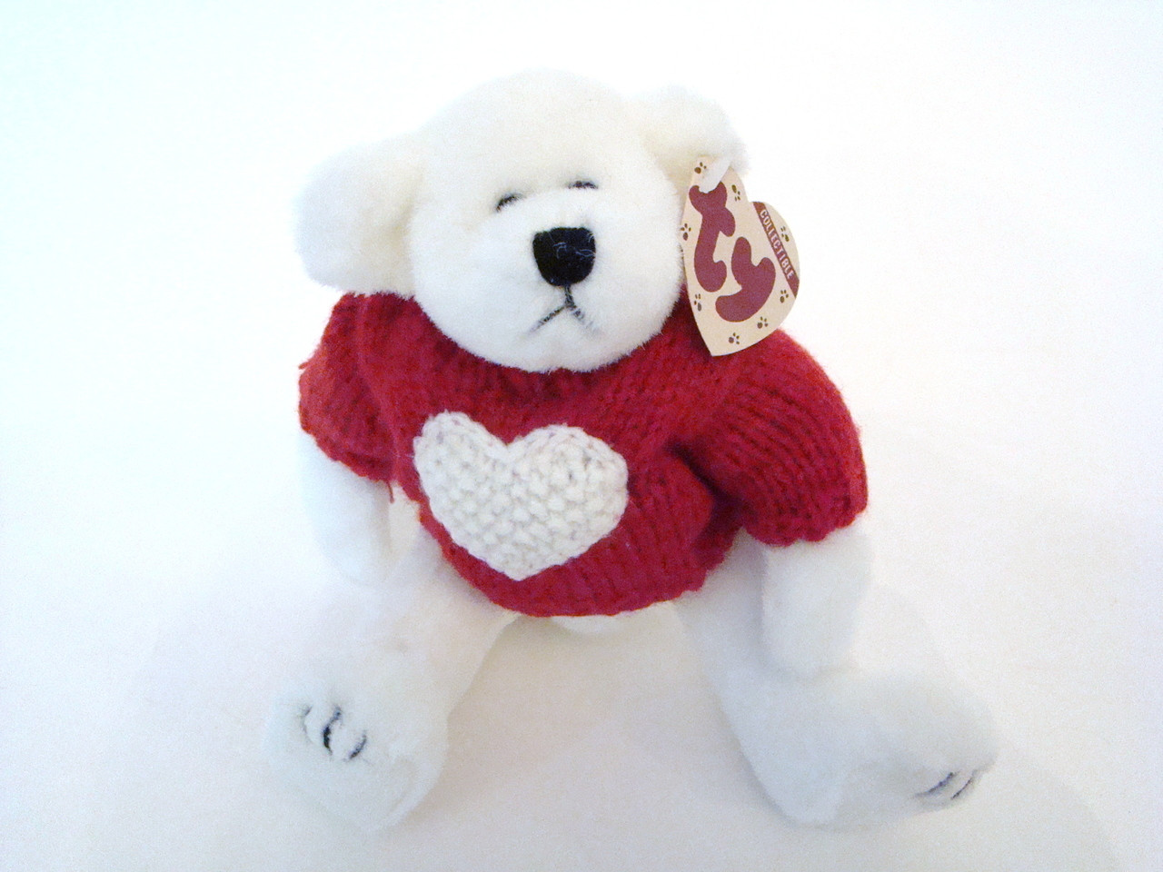 TY Attic Nicholas White Bear with Red Sweater White Heart (TY06015)