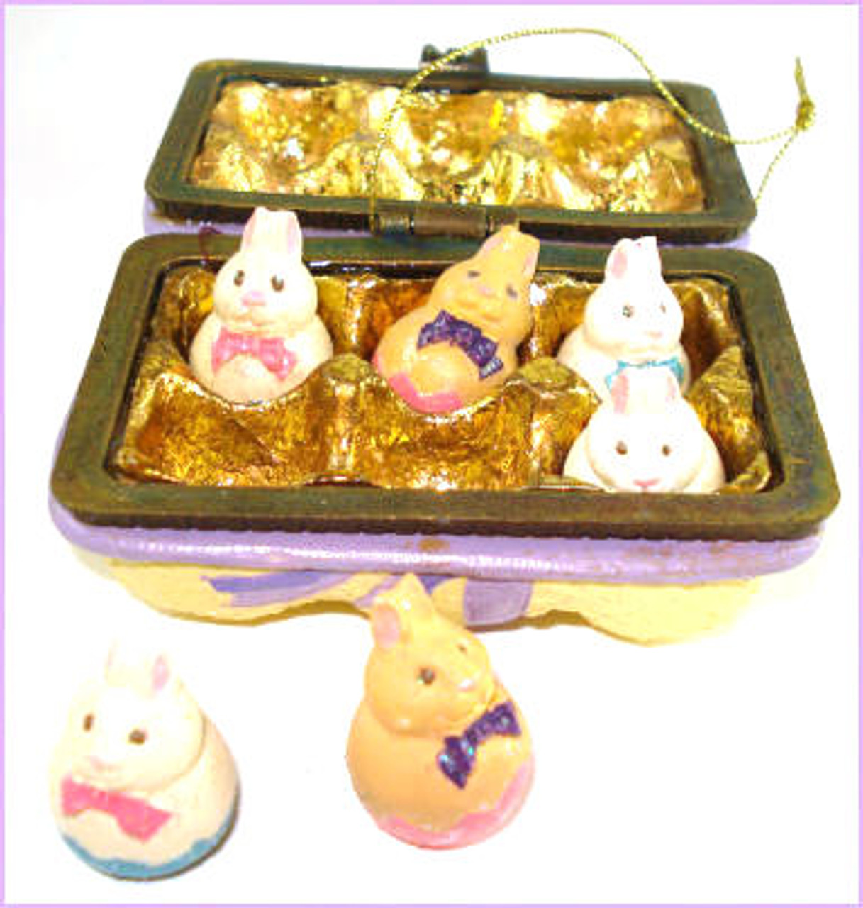 Katherine's Collection Easter Eggs Carton hinged box with SIX bunny eggs (07-70302)