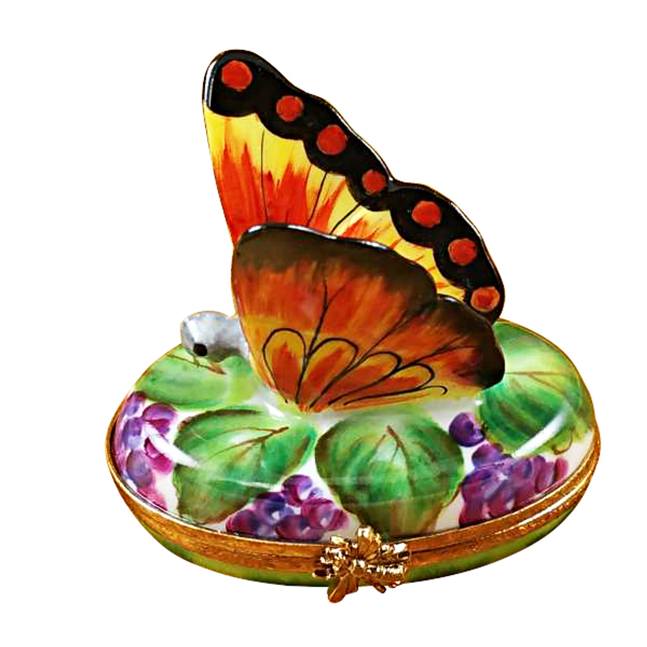 Rochard BUTTERFLY ON GRAPES Limoges Box RA325