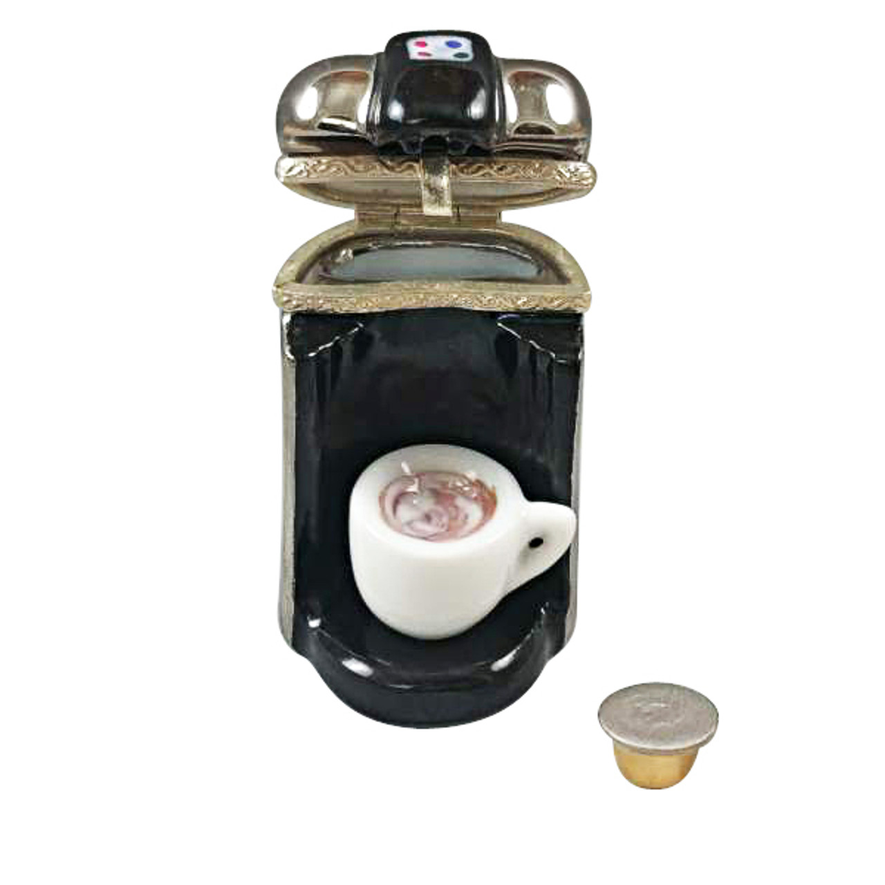"""""""R"""" CUP COFFEE MAKER WITH REMOVABLE COFFEE CUP AND """"R"""" CUP Limoges Box RK216-K"""