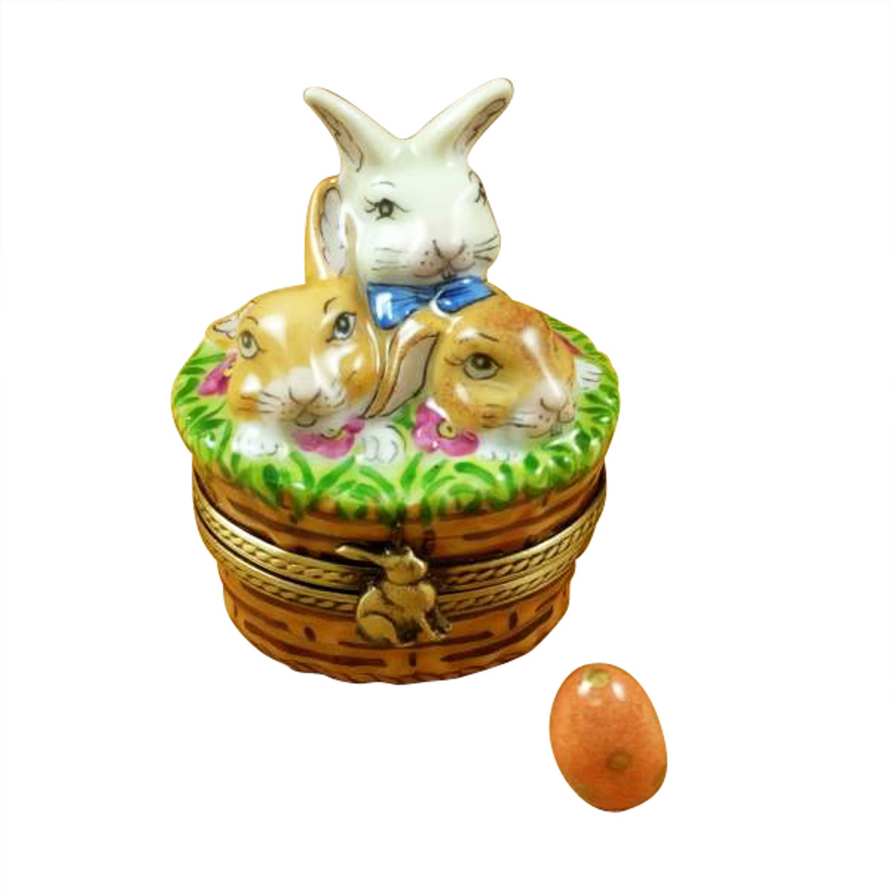 3 RABBITS IN A BASKET Limoges Box RO214-H