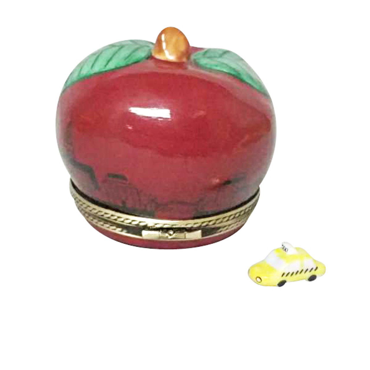 I LOVE NEW YORK APPLE WITH REMOVABLE TAXI Limoges Box