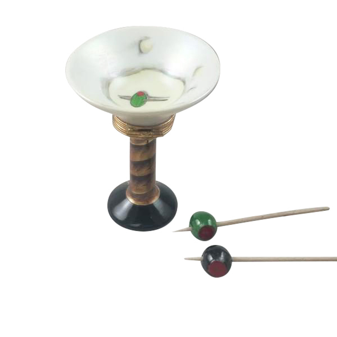 Rochard MARTINI GLASS WITH OLIVES Limoges Box RW093-J