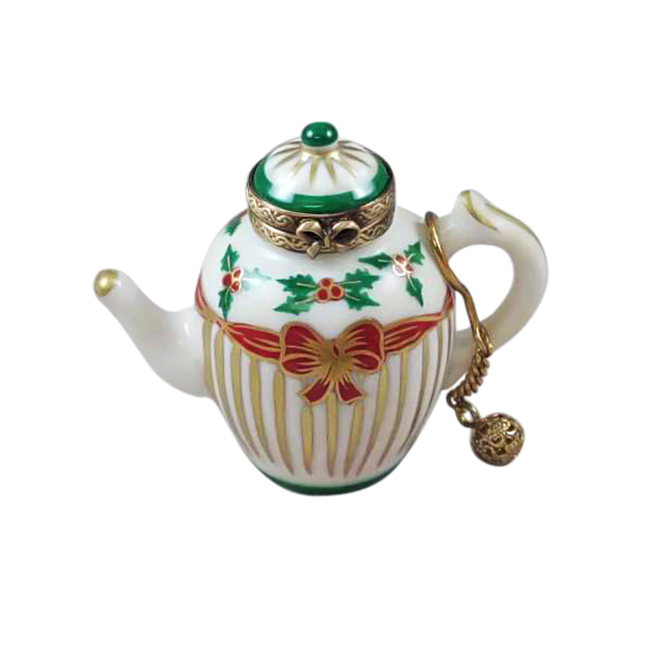 CHRISTMAS TEAPOT W/ METAL TEABALL Limoges Box (RX214-I)