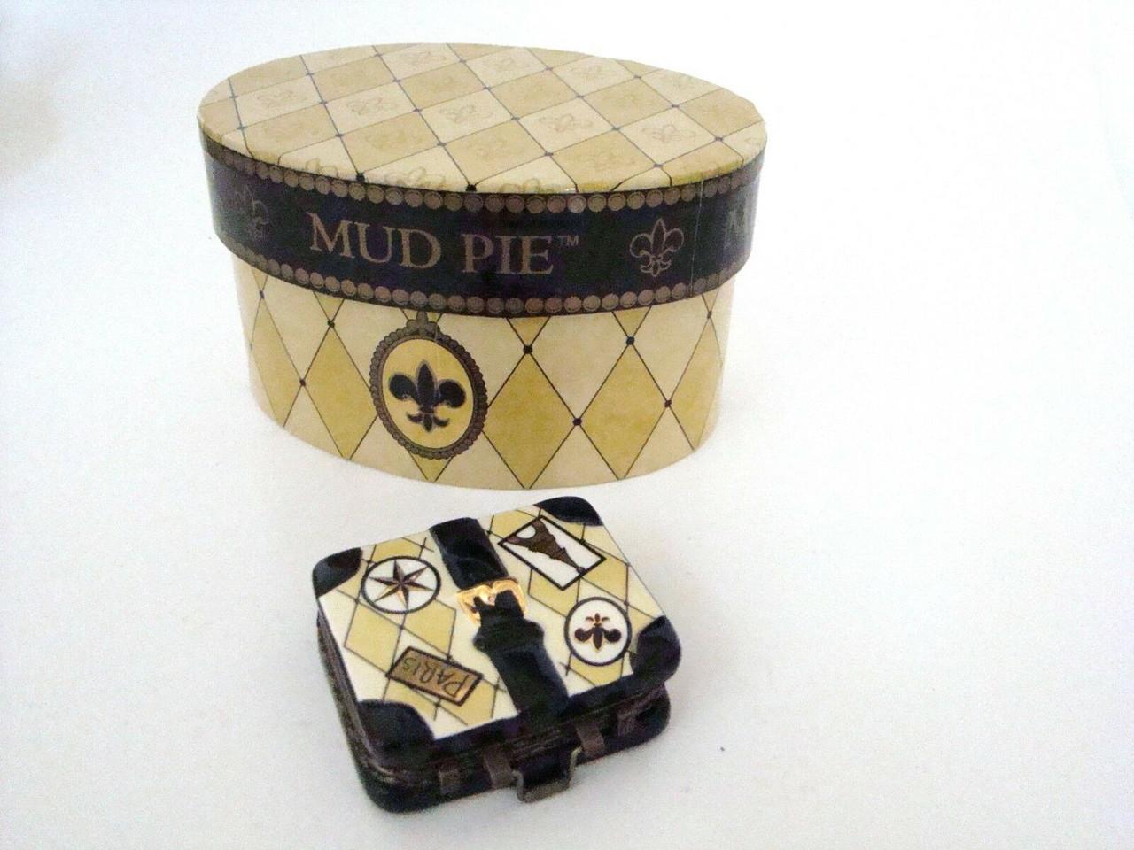 Mud Pie Porcelain Paris Luggage Porcelain Hinged Box (13927)