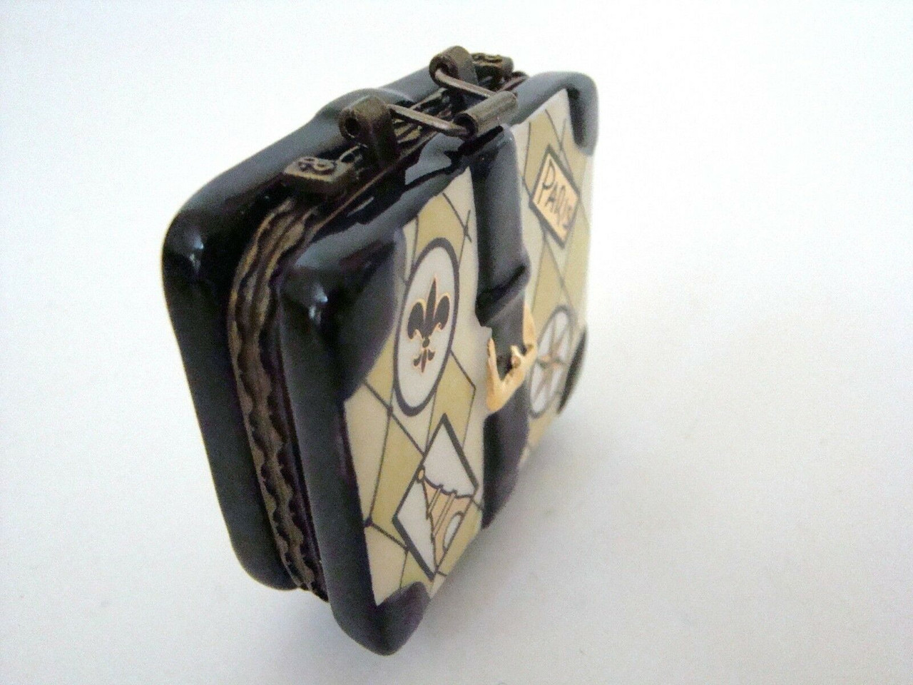 Mud Pie Porcelain Paris Luggage Porcelain Hinged Box