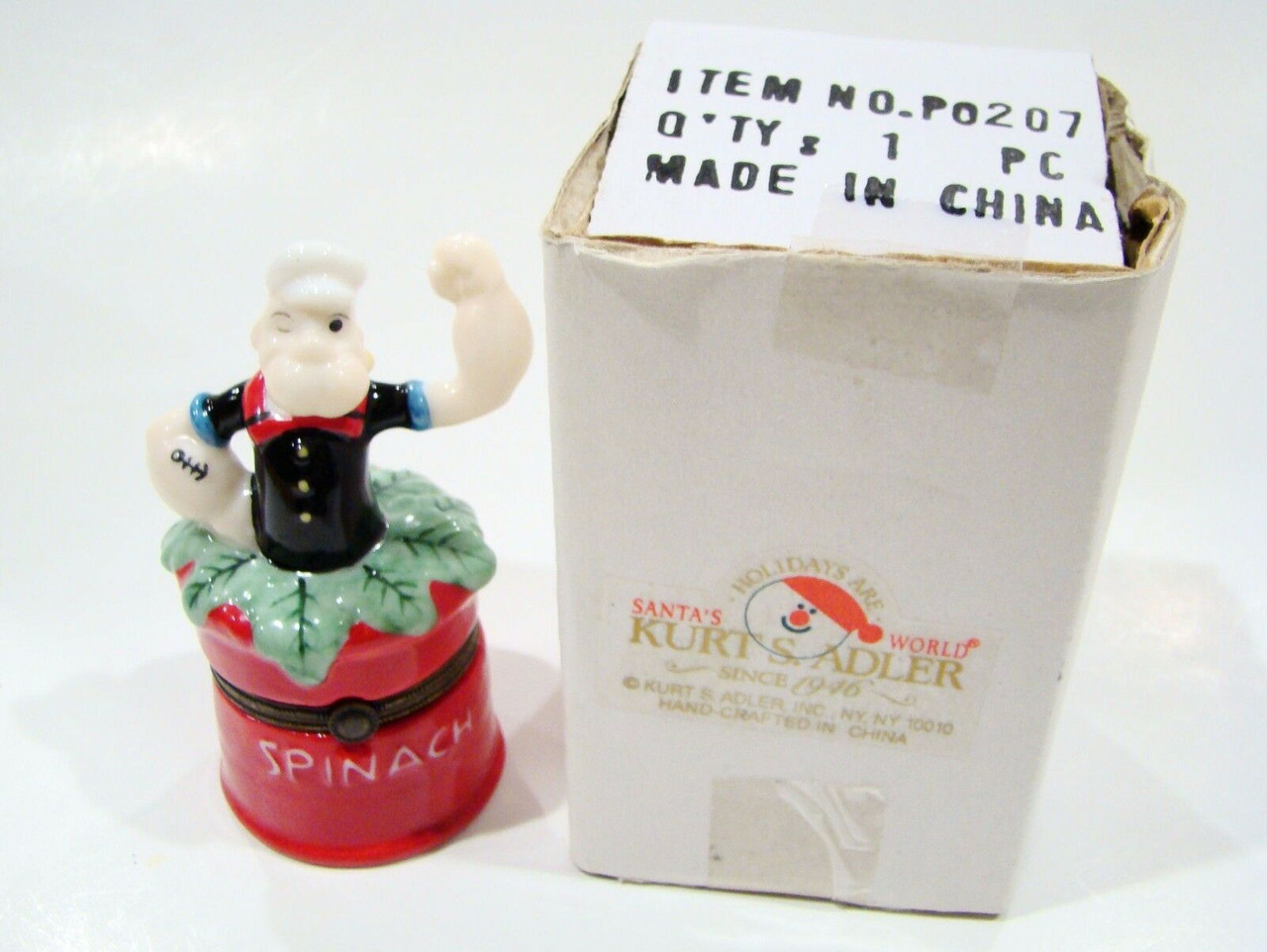 Popeye in Spinach Can Porcelain Hinged Box (P0207-KA)