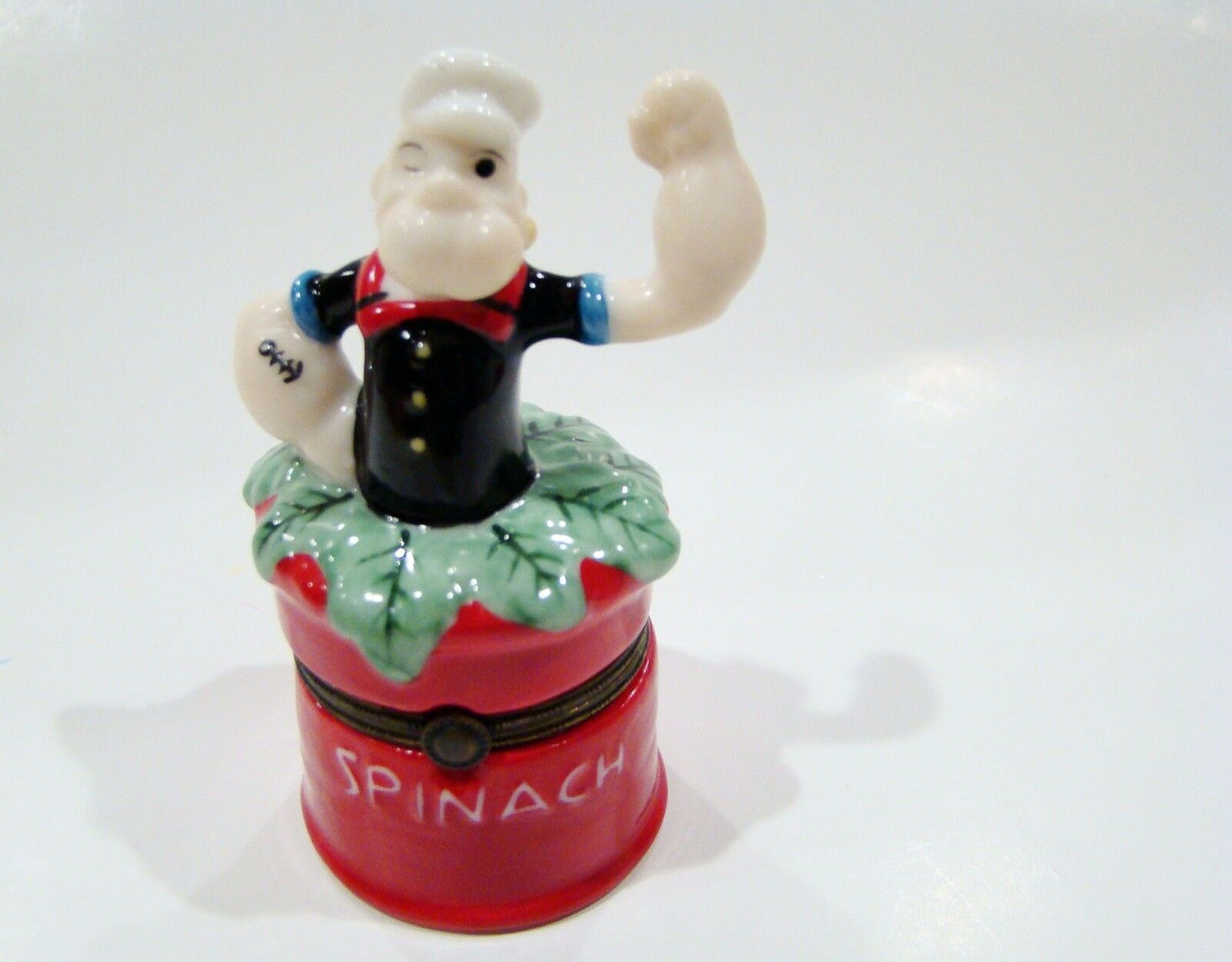 Popeye in Spinach Can Porcelain Hinged Box (P0207-KA)Popeye in Spinach Can Porcelain Hinged Box (P0207-KA)