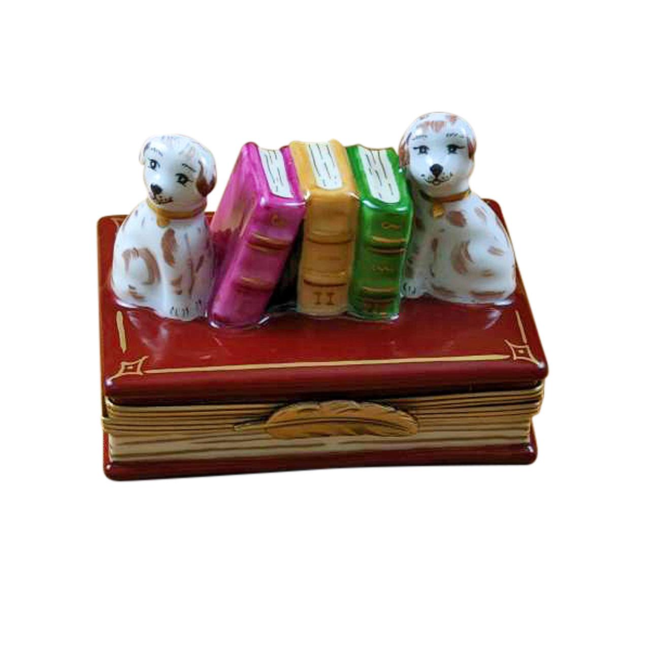 DOG BOOKENDS Rochard Limoges Box RN053-I