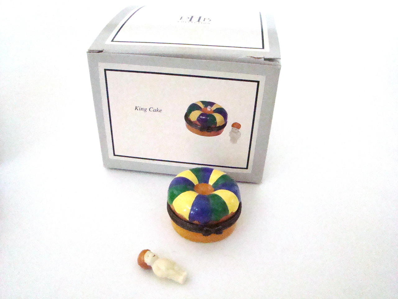 King Cake with Baby Porcelain Hinged Box PHB (21098-7)