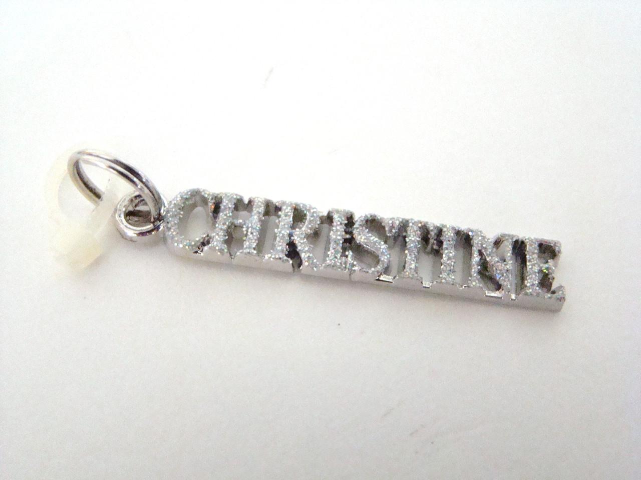 Silver glitter personalized name charm CHRISTINE (GG1059CHRISTINE)