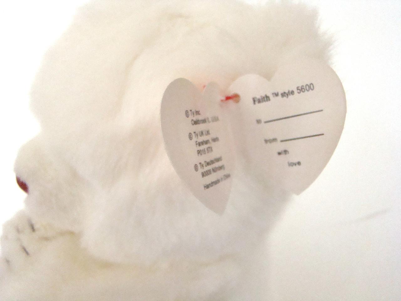 TY Plush FAITH White Bear Praying (TY5600)