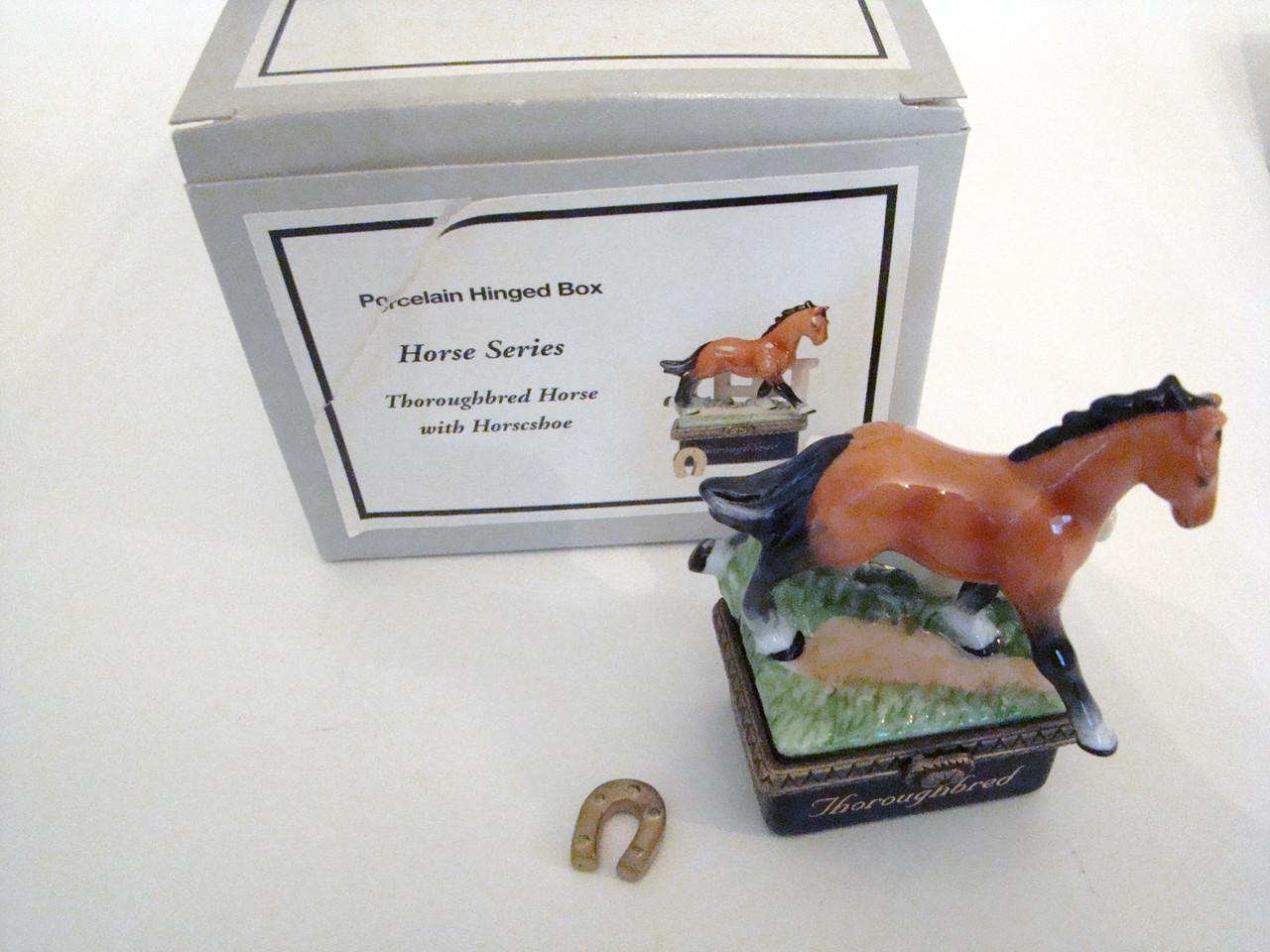 PHB Horse Series Set/3 Porcelain Hinged Boxes