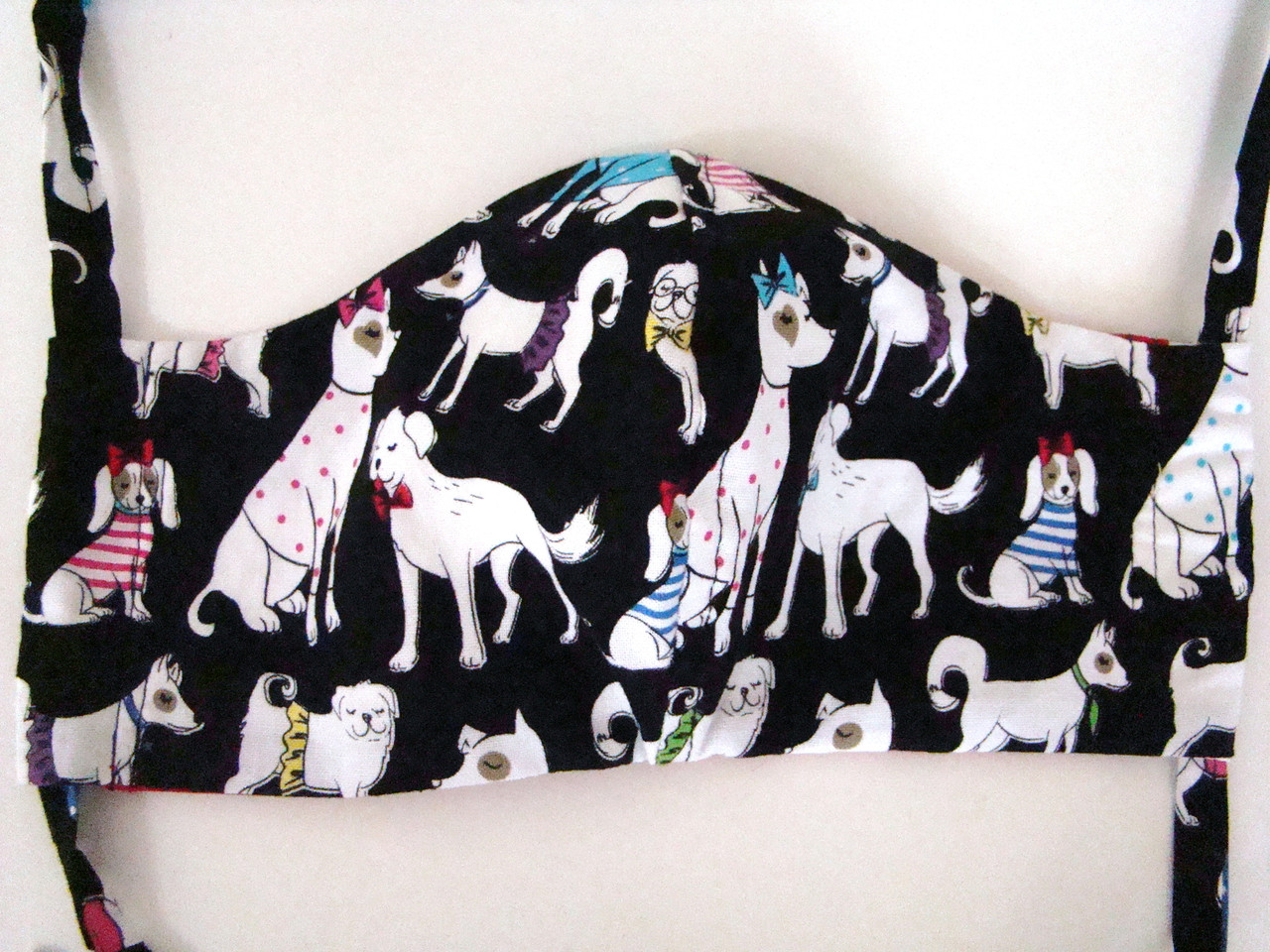 Face Mask - Dressed Dogs and Red Print