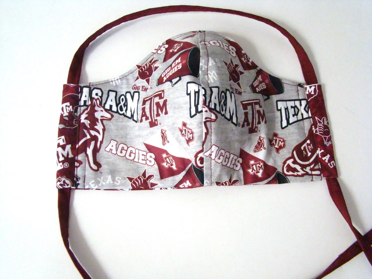 Texas A&M Gig Em Gray Collegiate Mascot Fabric