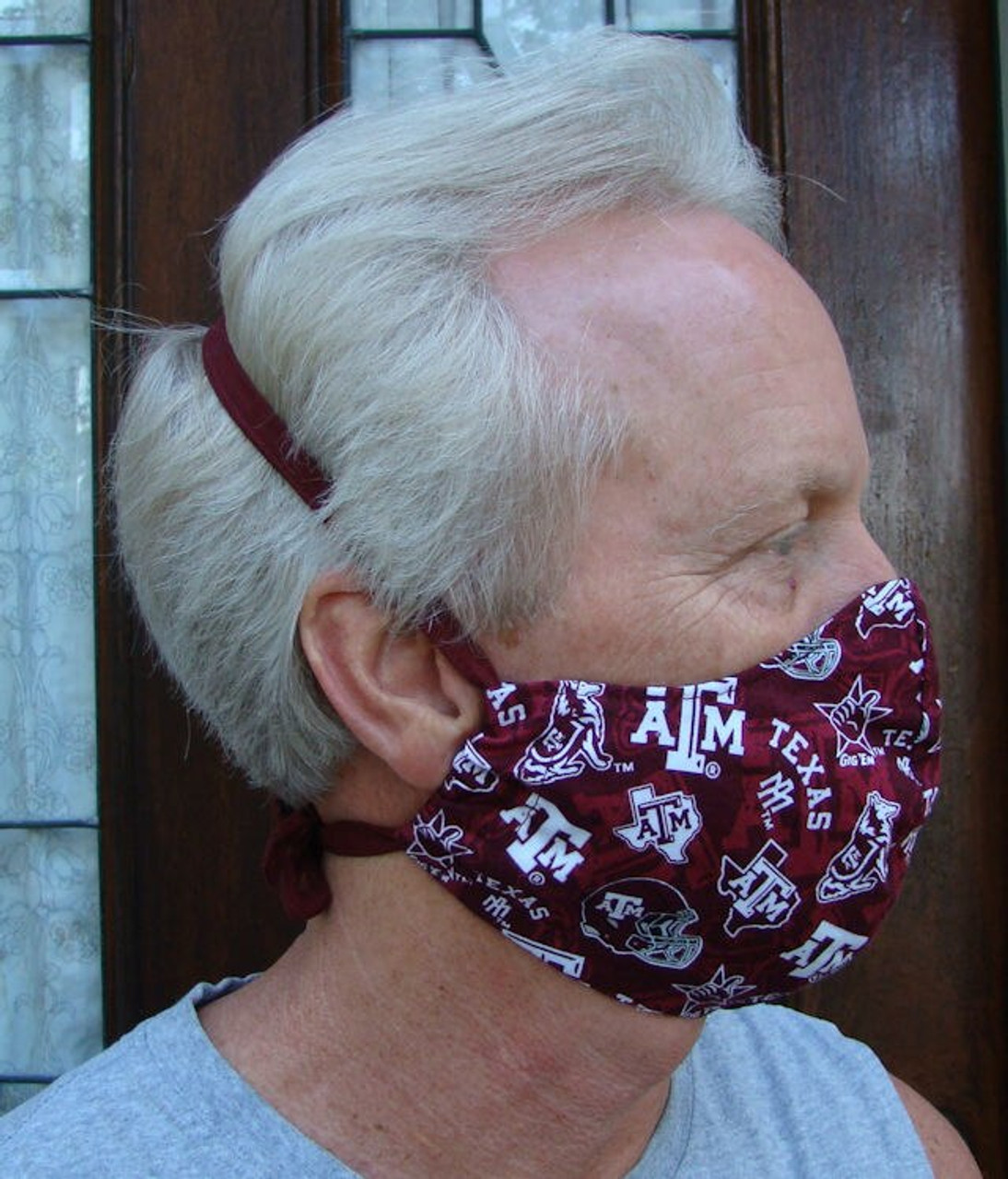 Face Mask in Texas A&M Gig Em Maroon Tone on Tone Size Large