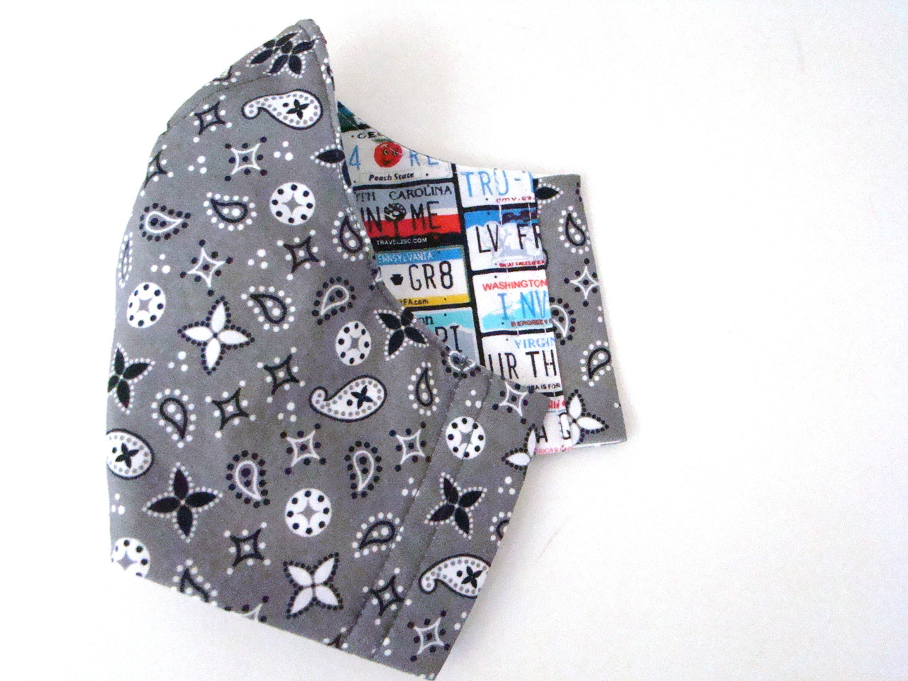 Gray Paisley Print Mask with Fun License Plates Reverse