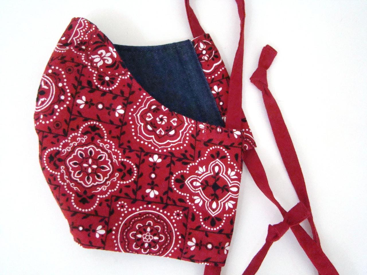 Red Bandana Print with Dark Wash Denim