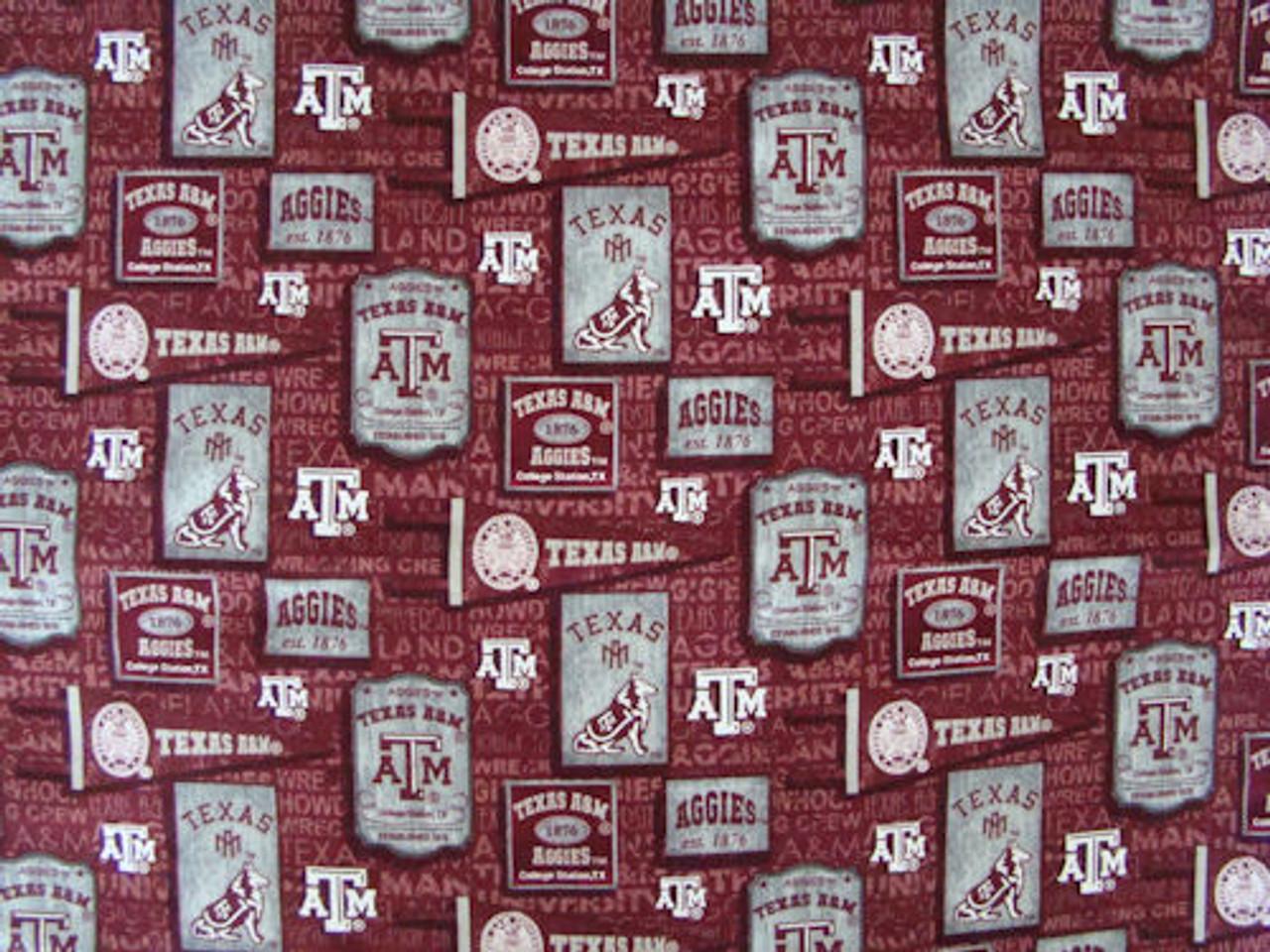 Texas A&M Vintage Pennants Fabric