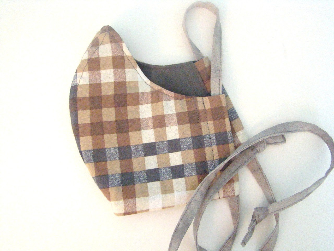 Face Mask - Classic Plaid Earth Tones and Gray