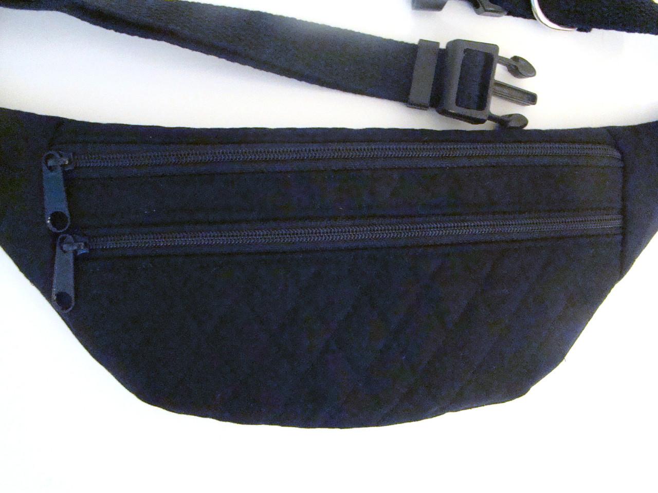 Black Quilted Double Zipper Slimline Fanny Pack (FP-BLACKQUILT)