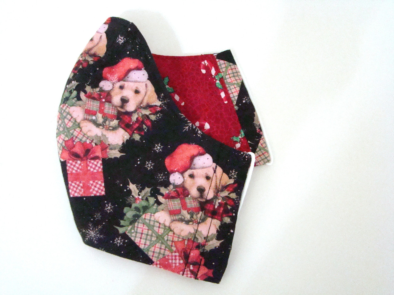 Face Mask - Puppies with Christmas Presents and Candy Canes