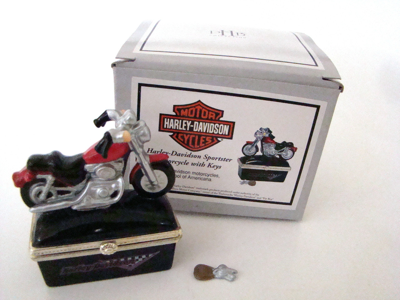 Midwest of Cannon Falls Set of 2 Harley-Davidson Motorcycle Bikes Hinged Boxes PHB