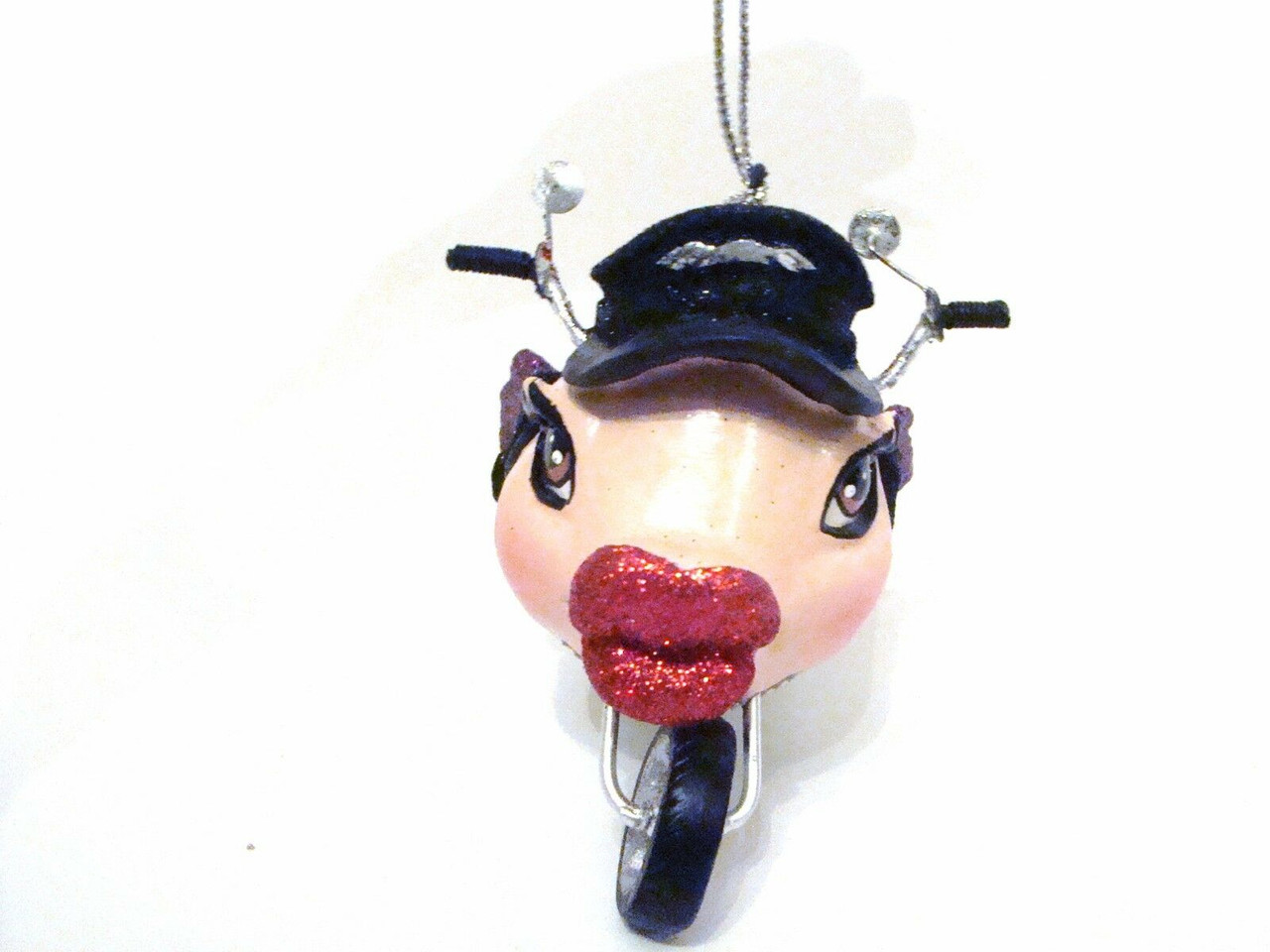 Katherine's Collection Biker on Motorcycle Kissing Fish PINK Tail