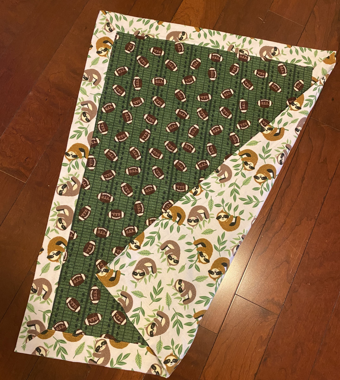 Flannel Baby Blanket Football and Sloths (BLANKET-FOOTBALL)