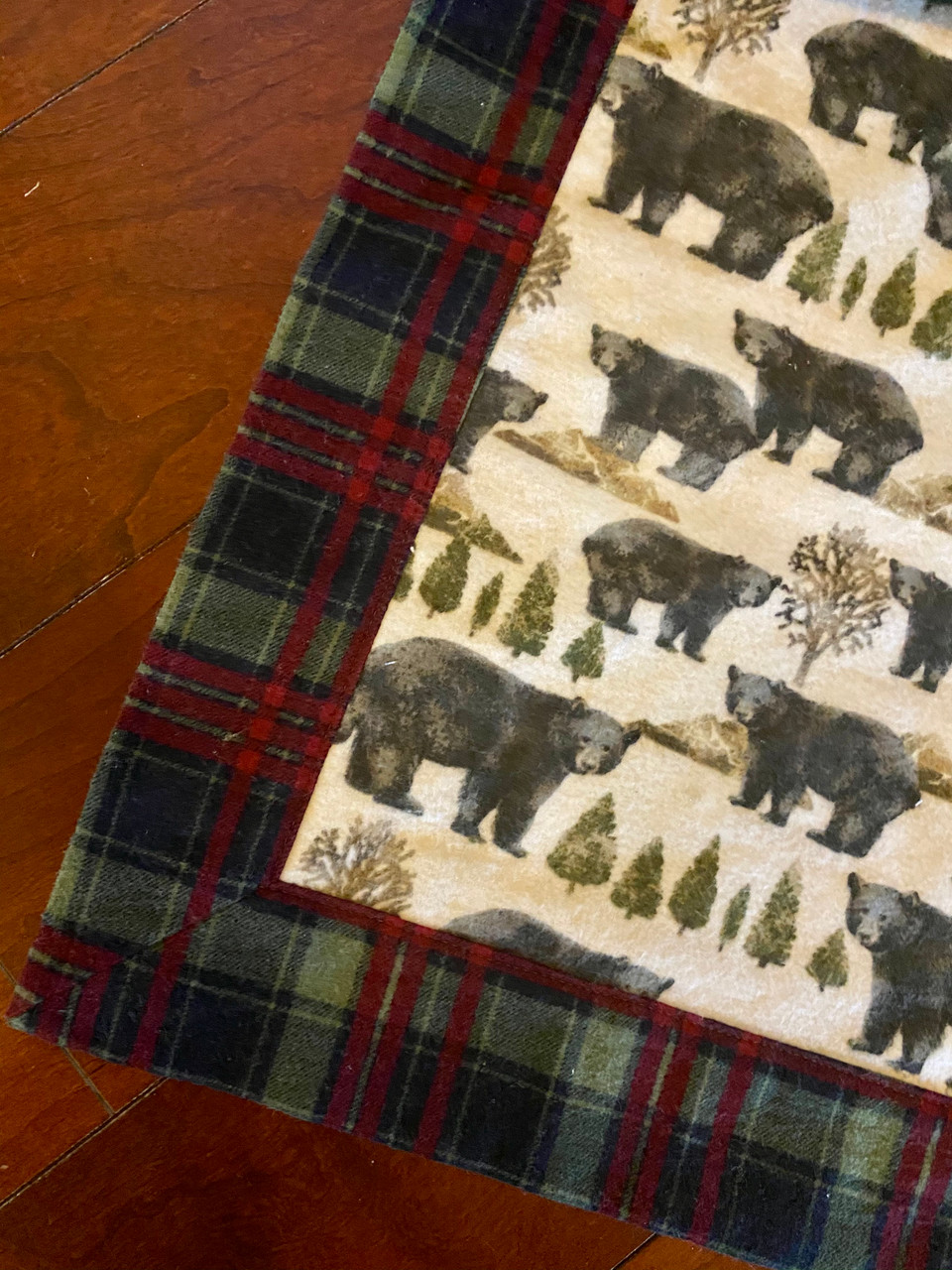 Flannel Baby Blanket Black Bears and Plaid